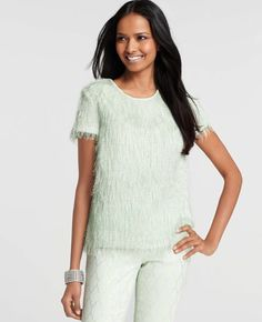 Petite Feathered Short Sleeve Top - Shimmery feather detail adds unforgettably elegant flair to this party perfect piece. Back keyhole with button closure. Mint Green Tops, Pinterest Fashion, Ann Taylor, Style Me, Cool Outfits, Clothes For Women, Womens Fashion, How To Wear, Moda Femenina
