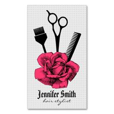 chic vintage hairstylist hair stylist girly pink Double-Sided standard business cards (Pack of 100). This great business card design is available for customization. All text style, colors, sizes can be modified to fit your needs. Just click the image to learn more!