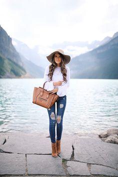 white blouson top ($35)// Good American Jeans // wool floppy hat peep toe booties // Celine handbag // monogramme...
