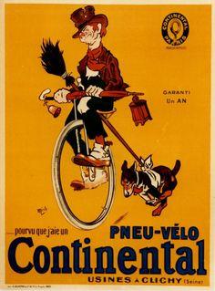 Vintage Advertising Posters - Pneu vélo Continental
