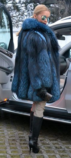 Blue Royal Saga Silver FOX FUR Jacket Coat Like Sable Mink Chinchilla Lynx | eBay