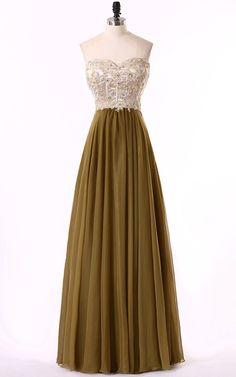 Brown Sweetheart Chiffon Floor Length Beading Long Prom Dress