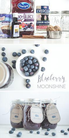 Blueberry Pie Moonshine Recipe Al a Mode Blueberry pie moonshine recipe with free printable gift tags. Al a mode style. Blueberry Pie Moonshine Recipe, Moonshine Recipes Homemade, Apple Pie Moonshine, Homemade Liquor, Blueberry Cobbler, Blueberry Recipes, Peach Moonshine, Fun Drinks, Yummy Drinks