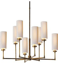 Visual Comfort Thomas OBrien Large Ziyi Chandelier in Hand-Rubbed Antique Brass with Natural Paper Shades TOB5016HAB-NP