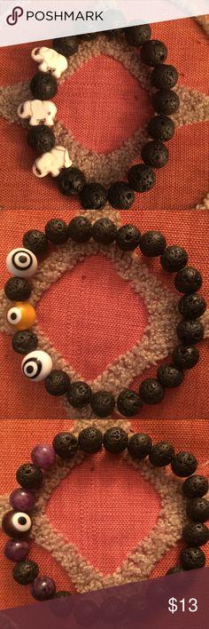 Lava bead essential oil bracelets!! Lava bread bracelets for your favourite essential oils!  Made by me! 💁🏻 Choose from elephants, skulls or evil eye made from Semi precious stones. Turquoise skulls, amethyst beads,  jasper & glass evil eye. 🐘💀👁$11 👌🏽 Jewelry Bracelets