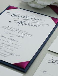 Glamour Wedding Invitation with Ribbon Corners