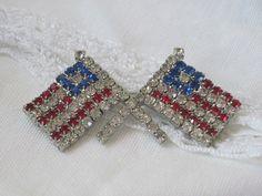 Vintage jewelry Red white Blue Rhinestone Double by vintagecarose, $14.95