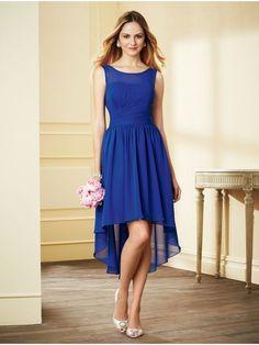 A-line High Low Blue Chiffon Wedding Party / Bridesmaid Dresses