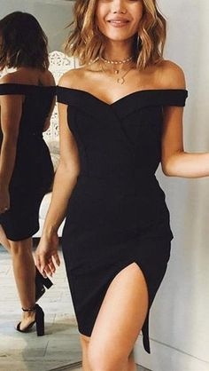Elegant dresses - Elegant black homecoming prom dress , off the shoulder prom dress – Elegant dresses Women's Dresses, Elegant Dresses, Pretty Dresses, Beautiful Dresses, Formal Dresses, Short Tight Prom Dresses, Dresses Online, Mode Outfits, Fashion Outfits