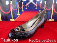 $115 Womens shoes Designer SAM EDELMAN Patent Brown LEATHER high heel pumps 6 m