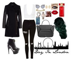 """Day In London <3"" by valenlss ❤ liked on Polyvore featuring Versace, Topshop, CÉLINE, Fendi, Jennifer Meyer Jewelry, Jennifer Fisher, Cartier, Rolex, Lime Crime and Estée Lauder"