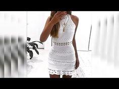 Vestido Isadora frente única parte 1 - YouTube Knitting Videos, Crochet Videos, Crochet Shawl, Crochet Top, Blouse Dress, Bodycon Dress, See Through Clothes, Dress Tutorials, Summer Patterns