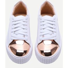 White Contrast Round Toe Rubber Sole Sneakers ($46) ❤ liked on Polyvore featuring shoes, sneakers, momma shoes, she in shoes, lacing sneakers, white trainers, laced up shoes, white sneakers and white lace up shoes