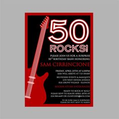 7 best 50th birthday images on pinterest anniversary parties 50th birthday rock n roll party invitation filmwisefo