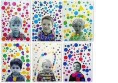 Yayoi Kusama-inspired self portraits Yayoi Kusama, Kindergarten Art, Preschool Art, School Art Projects, Art School, Art Lessons For Kids, Art For Kids, Classe D'art, Dot Day