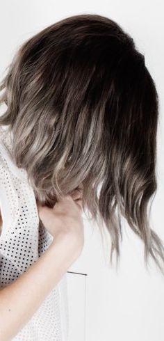 hair // silver blonde ombre long asymmetrical bob