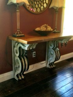 """I made this sideboard from vintage corbels and reclaimed pine planks. Sold it before it was even finished. Have another one in the store with similar corbels and a 2"""" thick cherry top.  By Caruso & Company"""