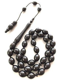 Materials : Oltu Taşı / Black Amber Stone Size : 12x16 mm, imame 8.8 cm Extra : Tepelik and Tepelik Cap Masters : Zekeriya Altunkaynak  Turkey - WhatsApp +90 532 311 22 90