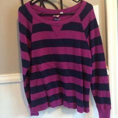 Roxy Pink/Purple Striped Sweater Super Cute Roxy Pink and Purple Striped Sweater, Never Been Worn Roxy Tops