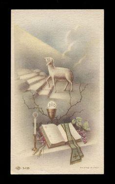 "santino-holy card ""ediz.NB serie 3 n.155 L'AGNELLO IMMOLATO,L'EUCARESTIA Prayer Cards, Lamb, Catholic, Prayers, Faith, Movie Posters, Pictures, Angel, Painting"