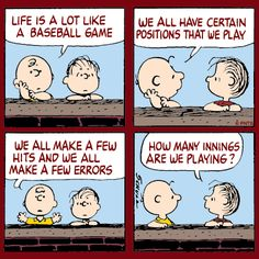 Charlie Brown - the little bald kid is the main character; a lovable guy, dominated by insecurities. Linus Van Pelt is Charlie Brown's blanket-toting best friend; Rerun Van Pelt is the younger brother of Linus and Lucy. Baseball Mom Quotes, Softball Memes, Baseball Memes, Baseball Cards, Baseball Videos, Baseball Pictures, Cubs Baseball, Baseball Stuff, Baseball Players