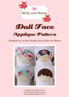 Doll Face PDF Applique Template Pattern by MollyandMama. Time to create some gorgeous smiling faces!