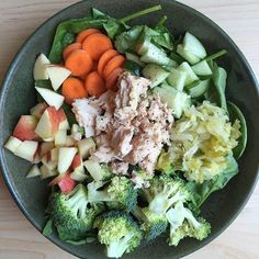 After quite a few indulgences this weekend, I'm ready to get to my normal eating routine. Salad with @wildplanetfoods tuna, @farmhousekraut, and veggies - See more at: http://iconosquare.com/viewer.php#/myLikes/list