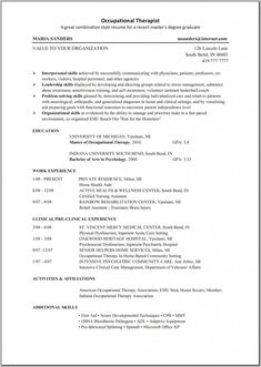 occupational therapy resume - Sample Resume Entry Level Occupational Therapist