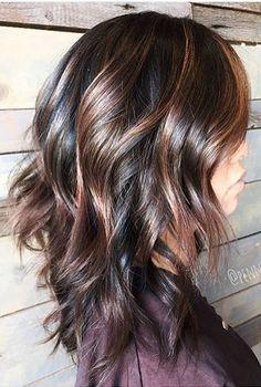 hair color idea - dark chocolate brunette with warm caramel highlights