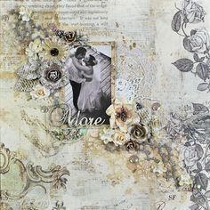 Adore Mixed Media Wedding Layout by Tracey Sabella, Scraps of Elegance August Kit, Prima Debutante, Prima Marketing, Video Tutorial