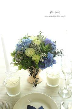 アジサイが爽やかなゲストテーブル装花 wedding table flower