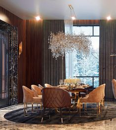 Get inspired by these dining room decor ideas! From dining room furniture ideas, dining room lighting inspirations and the best dining room decor inspirations, you'll find everything here! Luxury Dining Room, Dining Room Lighting, Dining Room Sets, Dining Room Design, Luxury Living, Dark Living Rooms, Living Area, Cheap Home Decor, Home Interior Design