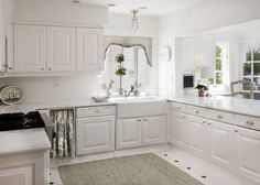 House of Turquoise: 305 Sea Lane Buy My House, Bright Kitchens, White Kitchens, House Of Turquoise, All White Kitchen, Cabinet Styles, White Rooms, Farmhouse Chic, Kitchen Styling