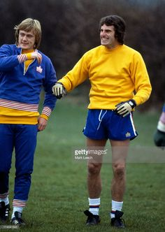 England football training Goalkeeper Ray Clemence in a happy mood with Peter Barnes