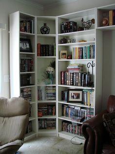 Bookshelves in the living room