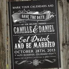 Vintage Retro Chalkboard Style PRINTABLE Save the Date Wedding Announcement