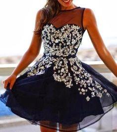 Lovely embellished floral lace mini dress