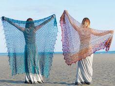 Ravelry: Lucidity pattern by Beata Jezek free lace shawl knitting pattern Poncho Crochet, Crochet Bebe, Knitted Shawls, Knit Or Crochet, Crochet Scarves, Crochet Clothes, Lace Shawls, Knit Cowl, Hand Crochet