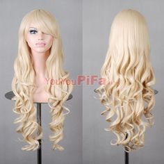 Heat Resistant Long Lolita Curly Wig ombre Wavy Wigs for Party Anime Costume , Hair Lights, Light Hair, Blonde Cosplay Wig, Blonde Wig, Cosplay Wigs, Anime Cosplay, Chobits Cosplay, Cheap Cosplay, Cosplay Ideas