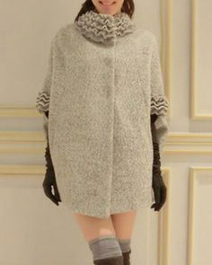 Stylish Stand Collar Dolman Sleeve Cape Woolen Coat For WomenCoats | RoseGal.com