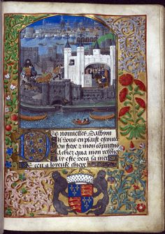 A view of London with the Tower of London, and Duke Charles d'Orléans writing in the Tower, Bruges, c. 1483 (this image) with later additions, c. 1492 – c. 1500: Royal MS 16 F. ii, f. 73
