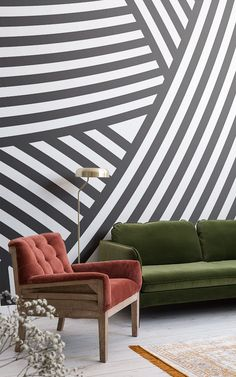Walmer Layered Black and White Wall Mural Mural Art, Wall Murals, White Room Decor, Feature Wallpaper, Black And White Wallpaper, Layers Design, White Walls, Decoration, Pop Of Color