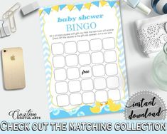 Rubber Ducky Baby Shower Purple Write Down Gifts Empty Bingo Cards BINGO GIFT GAME, Paper Supplies, Printable Files - rd002 - Digital Product