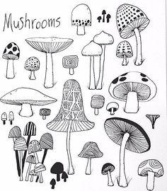 mushroom doodle drawings drawing easy doodles coloring liebe website