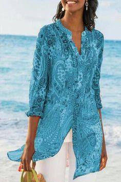 2019 Casual Chiffon Printed Button Retro Beach Dress Women Bohemia Bikini Swimwear Kaftan Beach Cover Up Saida De Praia Pareos - Purple XXL Blouse En Coton, Plus Size Bohemian, Bohemian Tops, Maxi Robes, Maxi Dresses, Collar Blouse, Chiffon Shirt, Print Chiffon, Printed Blouse
