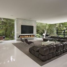 Glass wall with fireplace