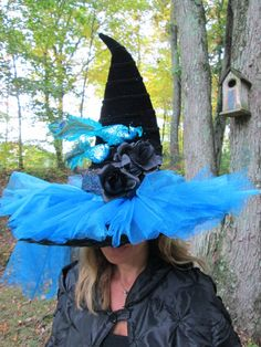 Witch Hat Blue Glitter Tule Blue Sequin by witchesnstitcheshats