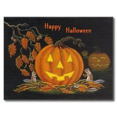 "Halloween postcard. Art titled ""Autumn's Surprise"" by Christine Altmann"