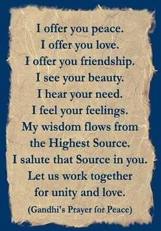 Gandhi's prayer for peace.