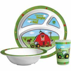 John Deere 3 pieces dinnerware set plate tumbler bowl  sc 1 st  Pinterest & John Deere Dinner Set \u2013 GreenToys4u.com   John Deere For The Home ...